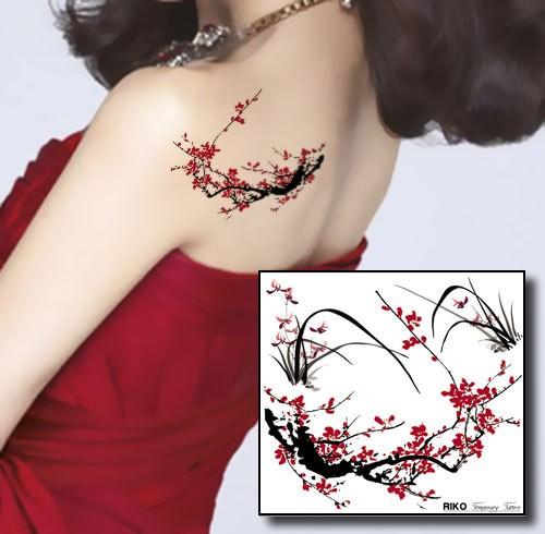 2-pcs-tatouage-temporaire-autocollants-fleurs-de-prunier-orchidée-fleur-designs-étanche-new-art-body-painting