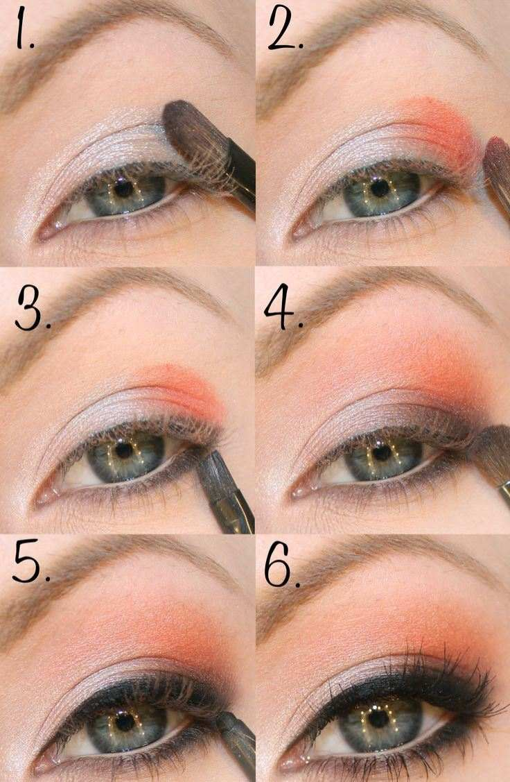 tuto-maquillage-yeux-fard-faupières-pêche-argent-eye-liner-mascara