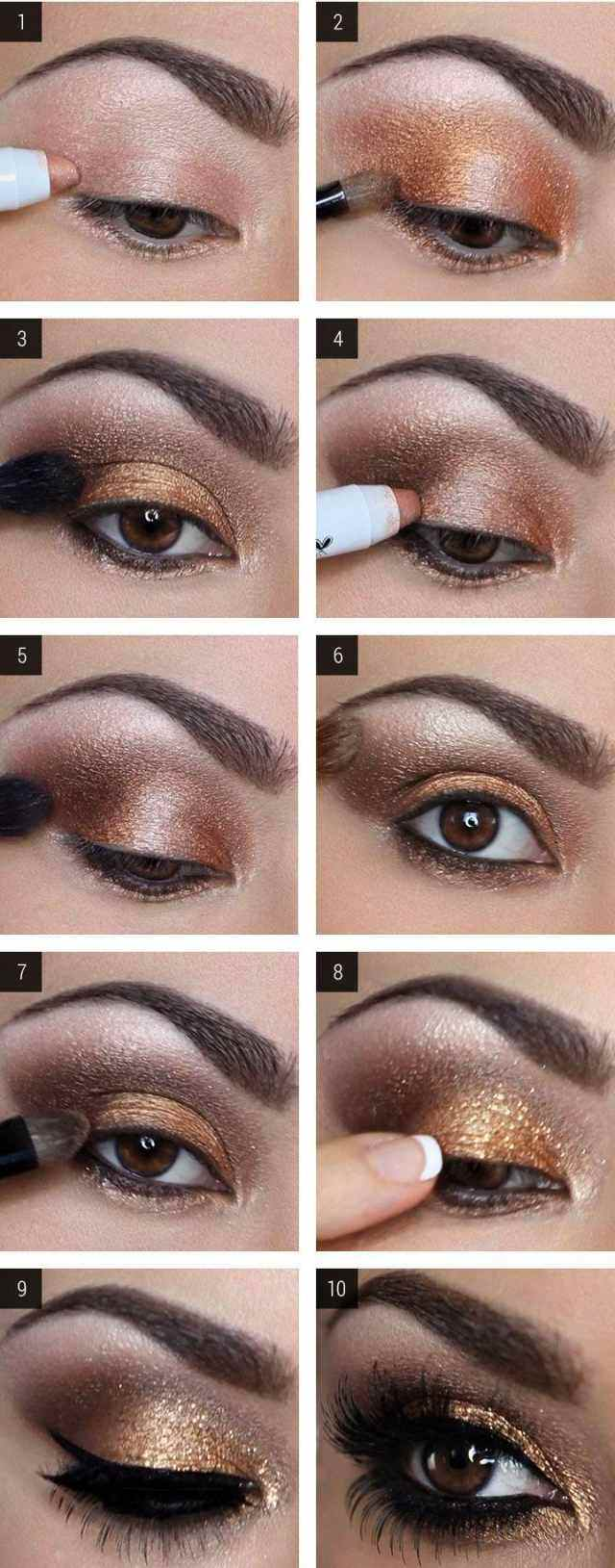 tuto-maquillage-yeux-marron-mascara-khôl-particules-or