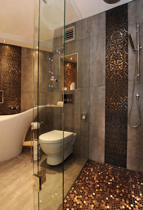 salle de bain gris et or - Belle Salle De Bain Moderne