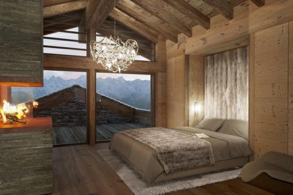 belle-chambre-à-coucher-bois-lustre-glamour