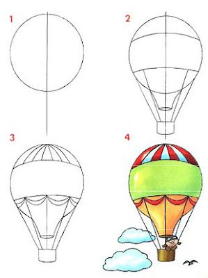 how to draw hot air balloon