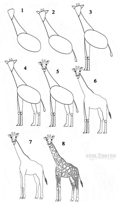 Beginner drawing tutorial to make a giraffe